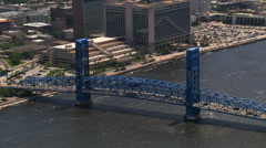 Aerial view of Main Street bridge and skyscrapers, Jacksonville, Florida. Shot Stock Footage