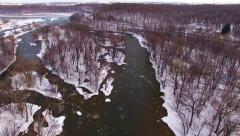 Aerial tour over icy, snowy, Wisconsin wilderness, Fox River Stock Footage