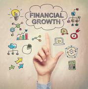 Hand pointing to Financial Growth concept - stock illustration