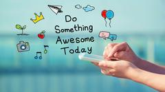 Do Something Awesome Today concept with smartphone - stock illustration