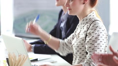 Young businesswoman at office meeting, applauding after colleagues presentation Stock Footage