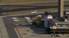 Aerial view of executive jet parking. Shot in 2007. Stock Footage