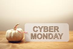 Cyber Monday message with small pumpkin - stock photo