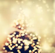 Star shaped lights on Christmas tree Stock Photos