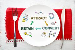Customer Acquisition concept on white plate - stock illustration