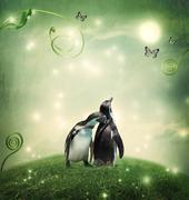 Two penguin friendship or love theme image Stock Photos