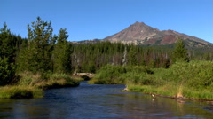 River running toward front of frame with snowless peak in background Stock Footage