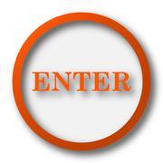 Enter icon. Internet button on white background.. - stock illustration
