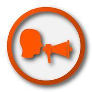 Megaphone icon. Internet button on white background.. - stock illustration