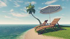 Deck chairs, parasol and palm tree on tropical beach Stock Illustration