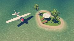Small plane above heart shaped tropical islet Stock Illustration