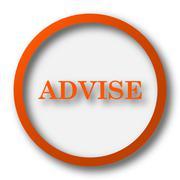 Advise icon. Internet button on white background.. - stock illustration