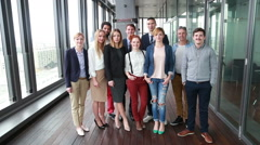 Portrait of happy business and advertising team - stock footage
