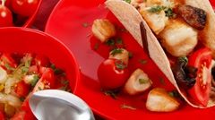 Stock Video Footage of big mexican taco with soup and vegetables