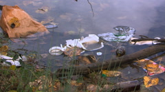 Litter floats on water near river bank, close-up of broken styrofoam container Stock Footage