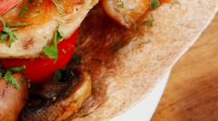 Stock Video Footage of big mexican taco served with vegetable soup
