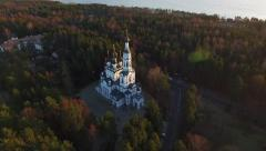 The Russian Church aero aerial sunset Stock Footage