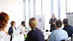 Beautiful businesswoman giving presentation to colleagues - stock footage