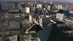 Stock Video Footage of Leisurely flight up The Strip from the Luxor toward the Stratosphere in Las