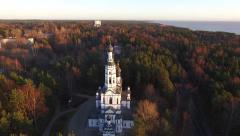 the rise Russian Church aero aerial - stock footage