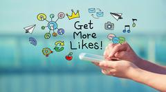 Get More Likes concept with smartphone Stock Illustration