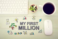 My First Million concept with workstation - stock illustration