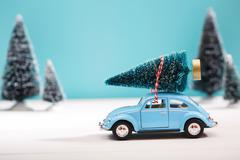 Car carrying a Christmas tree in miniature evergreen forest - stock photo