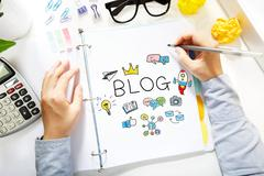 Person drawing BLOG concept - stock photo