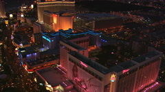 Northerly flight over glittering Las Vegas Strip at nightfall. Shot in 2008. - stock footage
