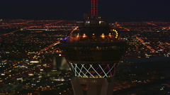 Stock Video Footage of Orbiting the Stratosphere's observation deck high above nighttime Las Vegas.