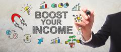 Businessman drawing Boost Your Income concept Stock Illustration