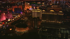Orbiting Caesar's Palace in Las Vegas at night. Shot in 2008. - stock footage