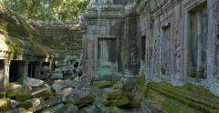 Ta Prohm temple of Angkor Wat Cambodia ancient stone ruin temple Stock Footage