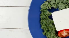 white goat cheese on blue plate - stock footage