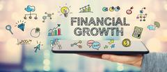 Financial Growth concept with man holding a tablet - stock illustration