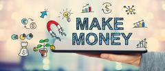 Make Money concept with man holding a tablet - stock illustration