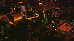 Orbiting Fremont Street area of Las Vegas at night. Shot in 2008. - stock footage