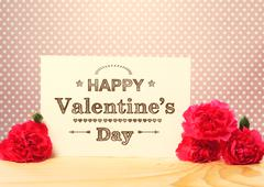 Valentines day message with carnations Stock Photos