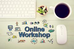Online workshop concept with workstation Stock Illustration