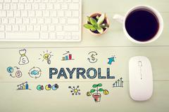 Payroll concept with workstation Stock Illustration