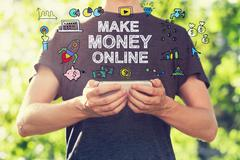 Make Money Online concpet with young man holding his smartphone - stock illustration