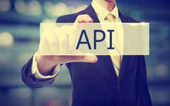 Business man holding API - stock photo