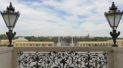 Main entrance seen from the balcony of Schönbrunn Palace, Vienna Stock Footage