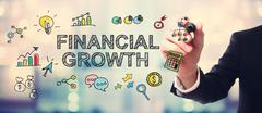 Businessman drawing Financial Growth concept - stock illustration