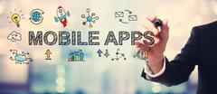 Businessman drawing Mobile Apps concept - stock illustration