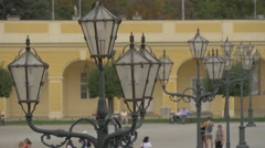 Vintage street lamps in the courtyard of Schönbrunn Palace, Vienna Stock Footage