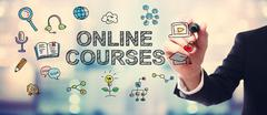 Businessman drawing Online courses concept - stock illustration