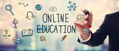 Businessman drawing Online Education concept - stock illustration