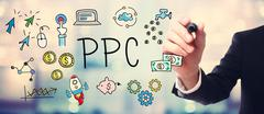 Businessman drawing PPC - Pay Per Click concept - stock illustration