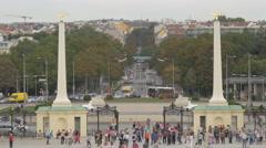 Traffic on Schlossalle and Schönbrunner Straße, Schönbrunn Palace, Vienna Stock Footage
